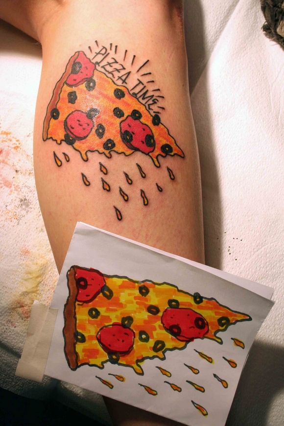 Pizza time pizza tattoo