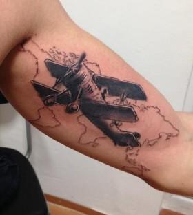 Plane tattoo by Razvan Popescu