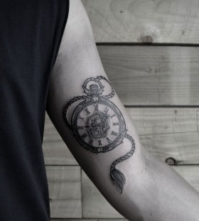 Pocket watch arm tattoo by Thomas Cardiff