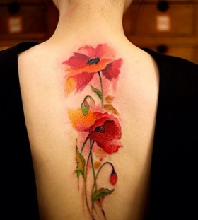 Poppies back tattoo by Chen Jie