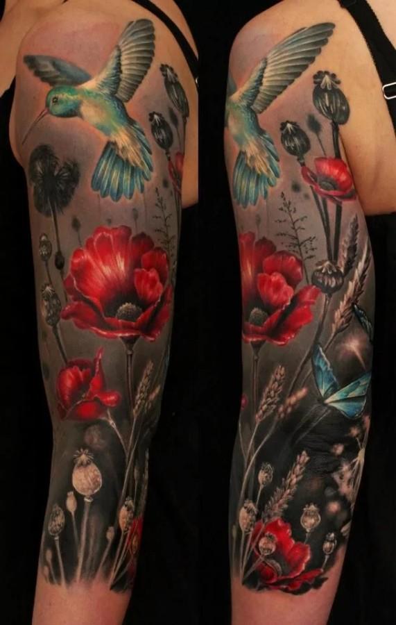 poppy sleeve tattoo by ellen westholm