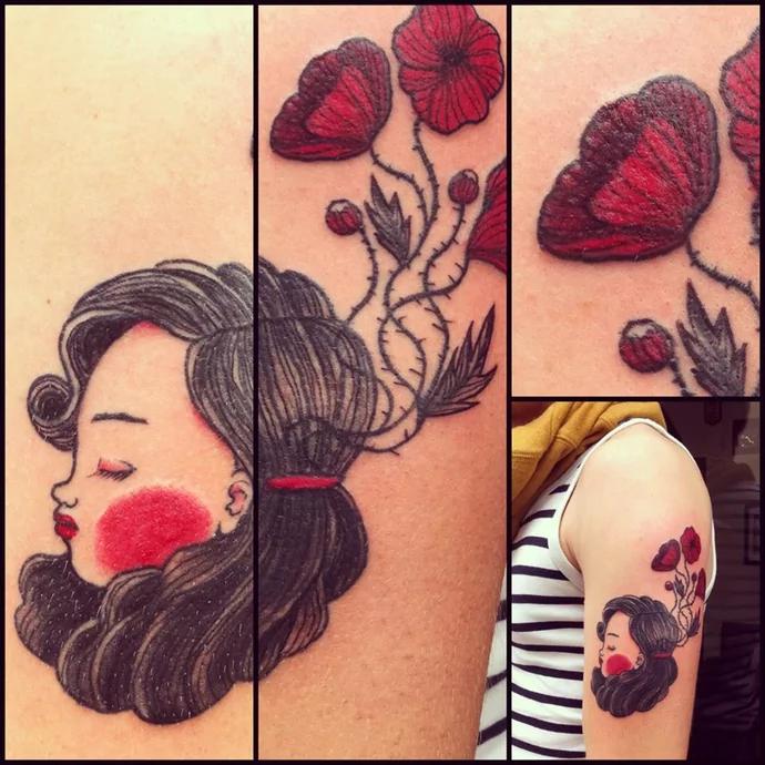 poppy tattoo by nicoz balboa
