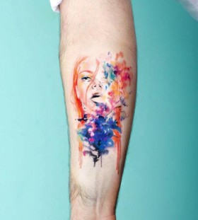Portrait watercolor tattoo