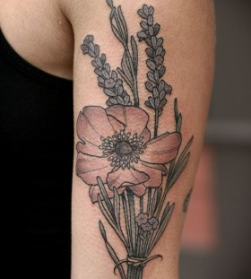 Pretty flower tattoo by Kirsten Holliday