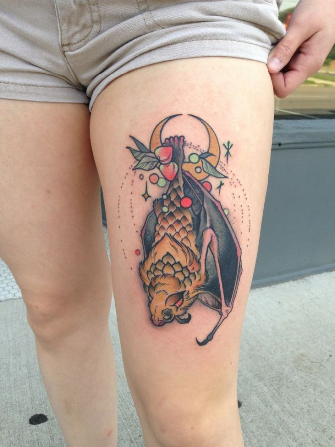 Pretty leg's fruit tattoo