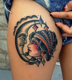 Pretty moon and woman tattoo by Nick Oaks