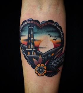 Pretty sunset tattoo by Matt Cooley