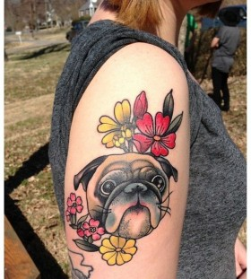 Pug and flowers tattoo by Amanda Leadman