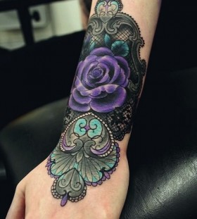 Purple rose lace tattoo