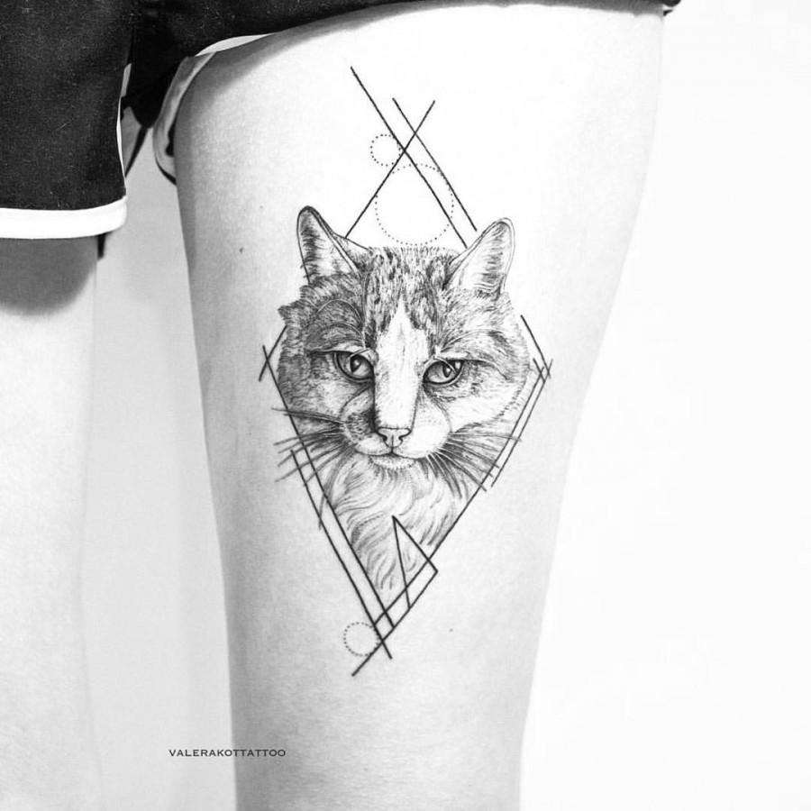 puurfect cat tattoo by valerakottattoo