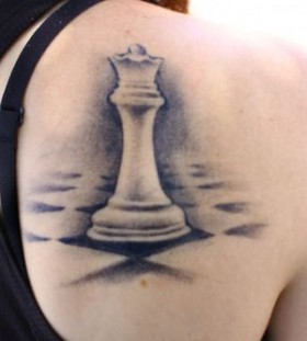 Queen black back chess tattoo