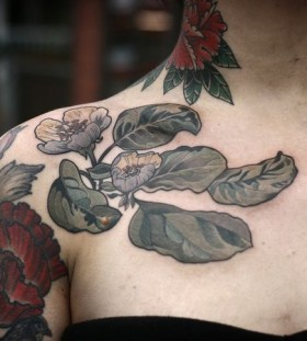 Quince blossom tattoo by Alice Kendall
