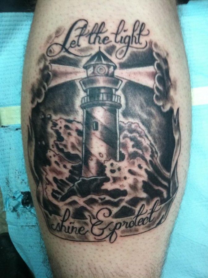 Quote and lighthouse tattoo