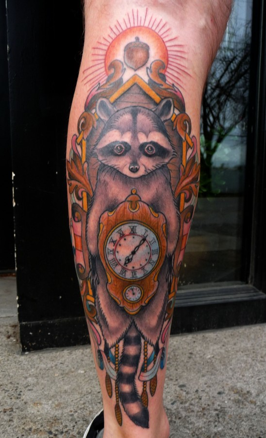 Raccoon and clock tattoo