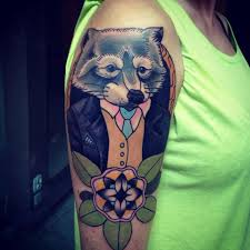 Raccoon in a suit tattoo