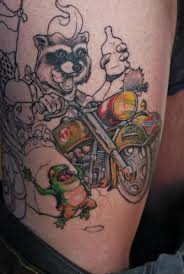 Raccoon riding a bike tattoo