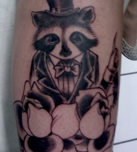 Raccoon with a suit tattoo
