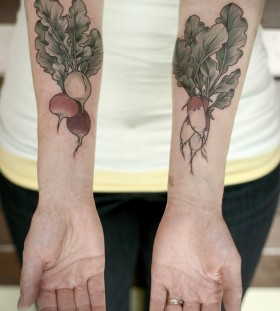 Radish tattoo by Kirsten Holliday