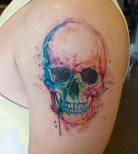 Rainbow Water Color Skull Tattoo