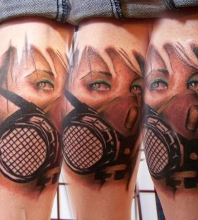 Realistic gas mask tattoo