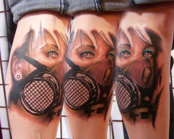 Realistic gas mask tattoo