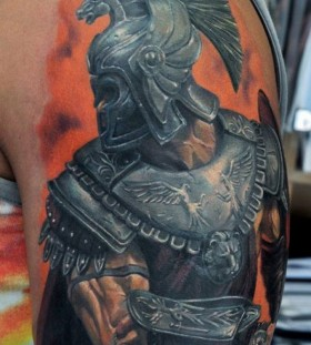 Realistic gladiator arm tattoo