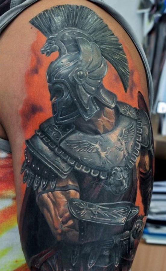 Realistic gladiator arm tattoo