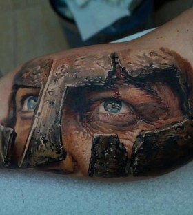 Realistic gladiator tattoo on arm