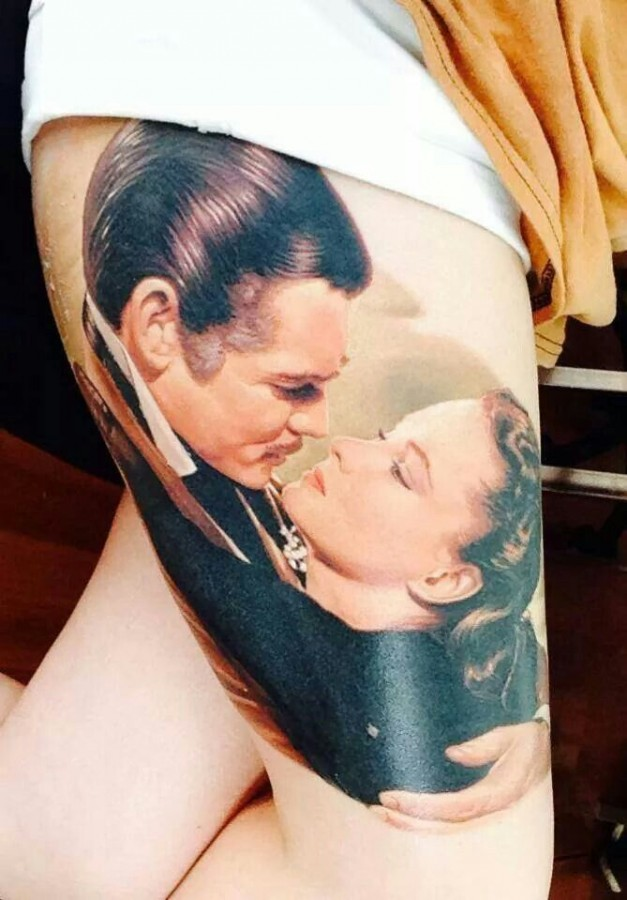 Realistic man and woman tattoo by James Tattooart