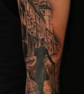Realistic man walking tattoo by Florian Karg