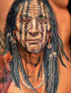 Realistic native american tattoo by Dmitriy Samohin