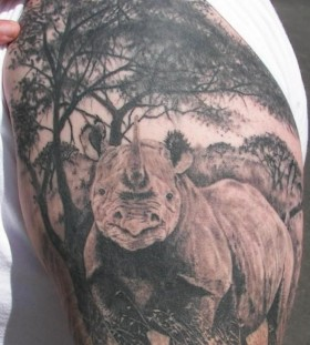 Realistic rhino arm tattoo