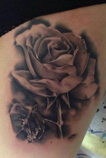 Realistic Single Rose Tattoo: Realistic Rose Tattoo By Razvan Popescu -