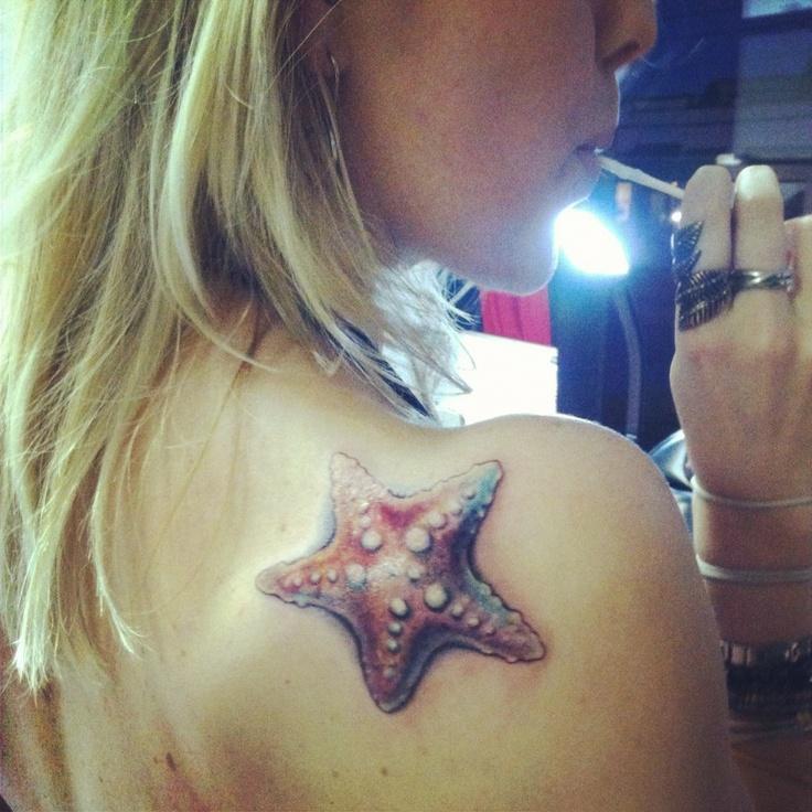 Realistic starfish tattoo by Jessica Brennan