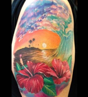 Realistic sunset and flowers tattoo