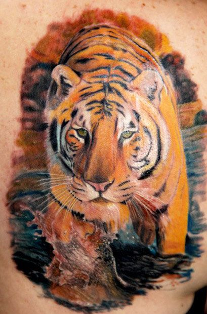Realistic tiger tattoo by Kyle Cotterman