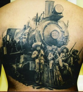 Realistic train and men back tattoo