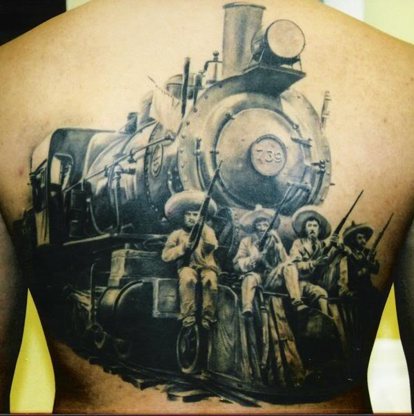 Realistic train and men back tattoo