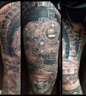 Realistic train and rails tattoo