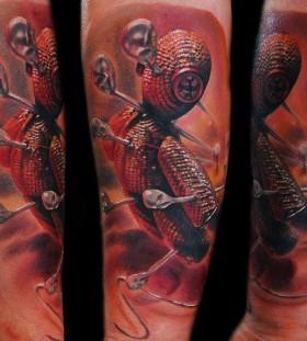 Realistic voodoo doll tattoo