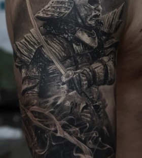 Realistic warrior tattoo by Dmitriy Samohin