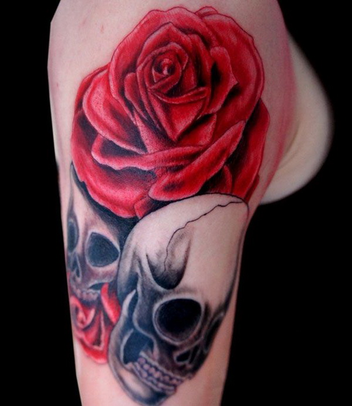 Red rose and skull tattoo
