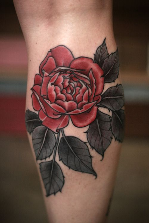 Red rose tattoo by Alice Kendall