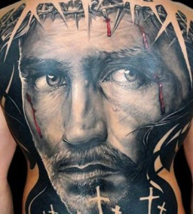 Religious back tattoo by James Tattooart