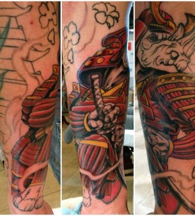 Rhino samurai arm tattoo