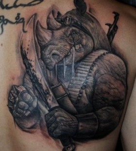 Rhino warrior back tattoo