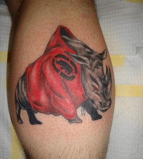 Rhino with a hoodie tattoo