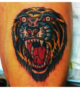 Roaring tiger tattoo by Charley Gerardin