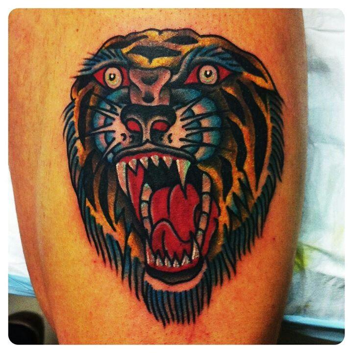 Roaring tiger tattoo by Charley Gerardin