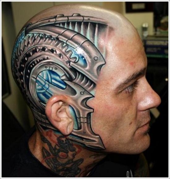 Robot face tattoo